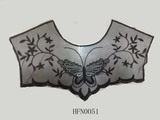 Delicate flower design mesh neck trim