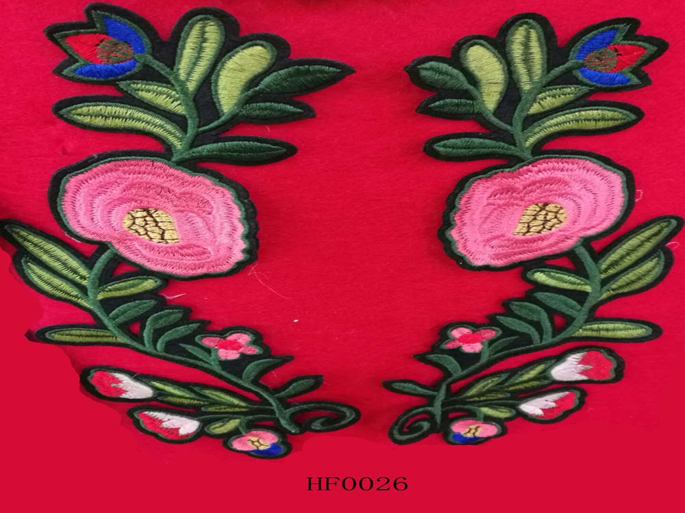 Custom embroidered patches delicate flower design for cloths